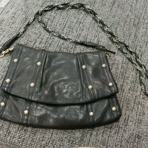 Guess black genuine leather studded purse